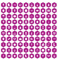 100 garden icons hexagon violet vector
