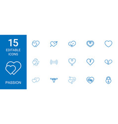 15 passion icons vector