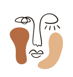 Abstract face portrait with neutral colors shapes vector
