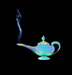 Azure turquoise magic lamp on background black vector