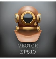 Background of underwater diving suit helmet vector