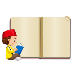 Background template with muslim boy reading vector