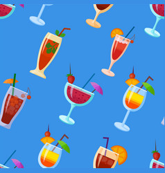 Background with cocktails flat style summer vector