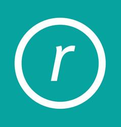 Basic font letter r icon design vector
