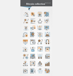 bitcoin icon set modeern thin and flat line vector image