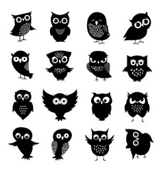Black and white owl silhouettes set vector