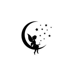 Black half moon and stars and fairy magic vector