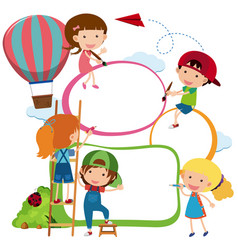 Border template kids drawing and painting vector
