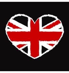 British flag t shirt heart vector image