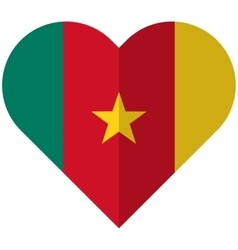 Cameroon flat heart flag vector