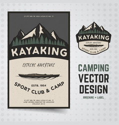 Camping adventure travel brochure and vector