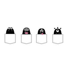cartoon monster pocket set black silhouette cute vector image