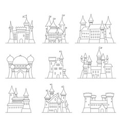 Castles and fortresses flat design icons vector