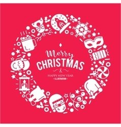 Christmas background with flat icons vector