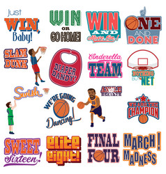 College basketball tournament icons cliparts vector