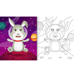 Coloring book for kids with a cute rabbit vector