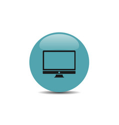 computer icon on blue button vector image vector image