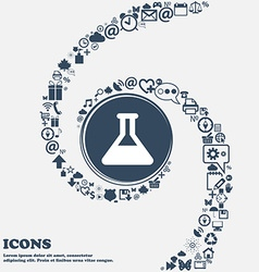Conical Flask icon sign in the center Around the vector image