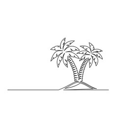 Continuous one line drawing palm trees vector