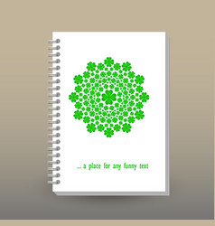 Cover of diary notebook green cloverleaf mandala vector