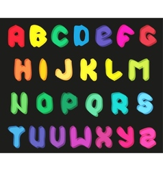 Creative multicolor alphabet set on black vector image
