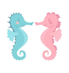 Cute seahorse couple blue pink cartoon vector