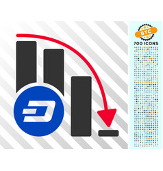 Dashcoin falling acceleration chart flat icon with vector