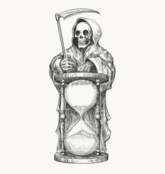 Death with scythe and hourglass vector