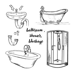 Doodle bath and shower vector