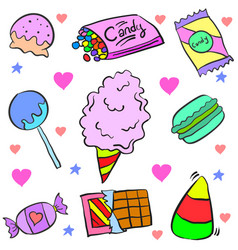 Doodle of candy various colorful various vector