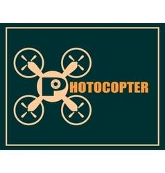 Drone quadrocopter icon Photocopter text vector
