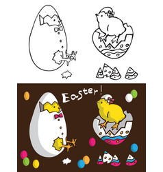 easter chickens in egg vector image