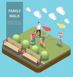 family leisure playing isometric composition vector image