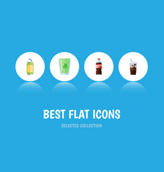 Flat icon drink set of bottle cup carbonated and vector