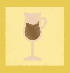Flat shading style icon coffee glass vector