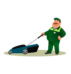 funny cartoon farmer with lawn mower vector image