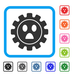Gear wonder smiley framed icon vector