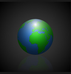Globe icon with green shadow continents and vector