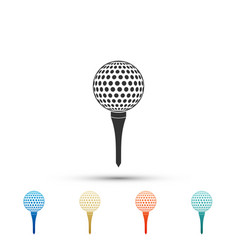golf ball on tee icon isolated on white background vector image