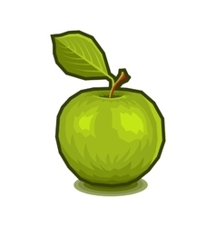 Green Apple with Leaf Icon vector image