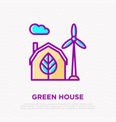 green house and windmills thin line icon vector image