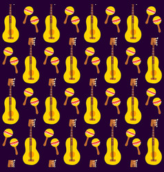 guitar maracas seamless pattern vector image
