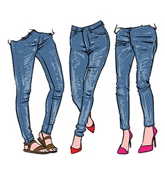 Hand drawn womens fashionable denim jeans vector image