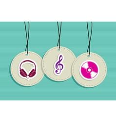Hanging hipster music badges set vector image