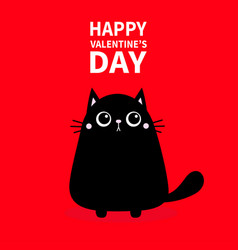 happy valentines day cute black cat icon kitty vector image