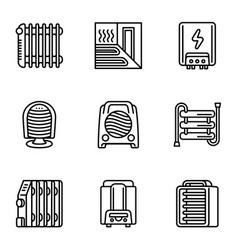 Home heater icon set outline style vector