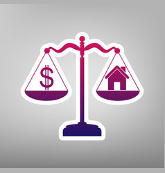 House and dollar symbol on scales purple vector