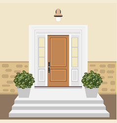 house door front with window and steps in flat vector image