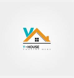 house icon template with v letter home creative vector image