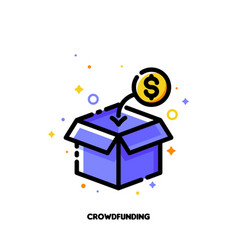icon open box collecting money for crowdfunding vector image